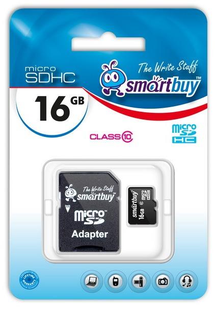 Карта памяти micro SDHC 16 Gb class10 SMART BUY (адаптер SD)