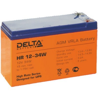 Аккумулятор DELTA HR12-34W (12V 8.5Ah, 151x65x100mm)