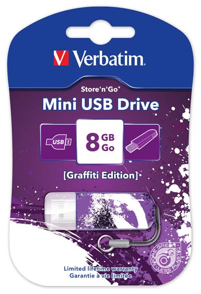USB накопитель 8GB VERBATIM Mini Graffiti Edition Purple