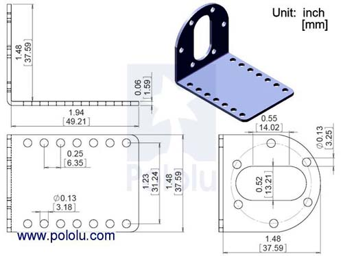Коллекторные моторы 37D mm Metal Gearmotor Bracket Pair