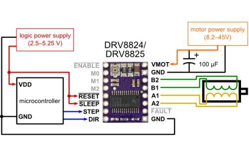 Модуль RA067. Драйвер шагового двигателя DRV8825