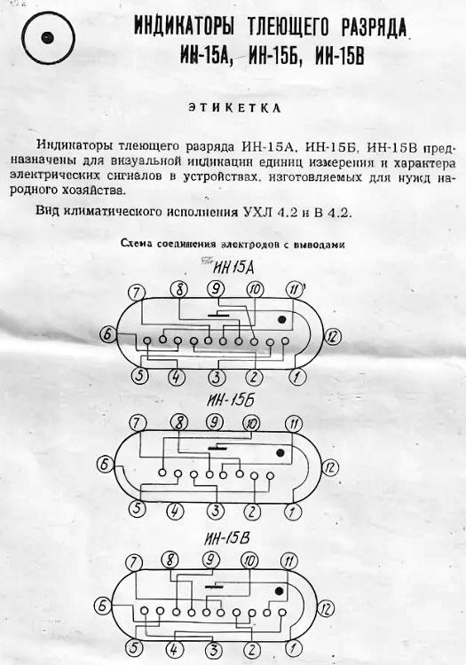Газоразрядный индикатор ИН-15А