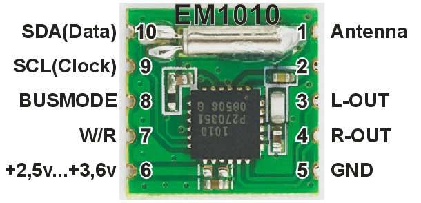 Модуль радиоприёмника FM от 76 МГц до 108 МГц EM1010