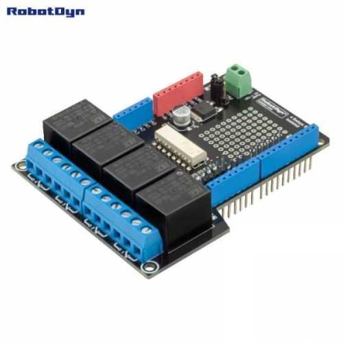 Релейный Шилд для Arduino Uno, 4 реле. RobotDyn
