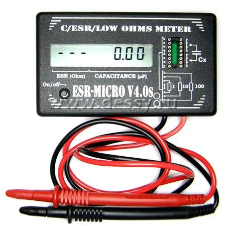 Измеритель емкости и ESR электролитических конденсаторов без демонтажа их из печатной платы ESR-micro v4.0SI
