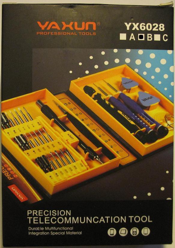 YAXUN YX6028B. Набор высокоточного инструмента для ремонта электронных устройств в подарочном прорезиненном боксе