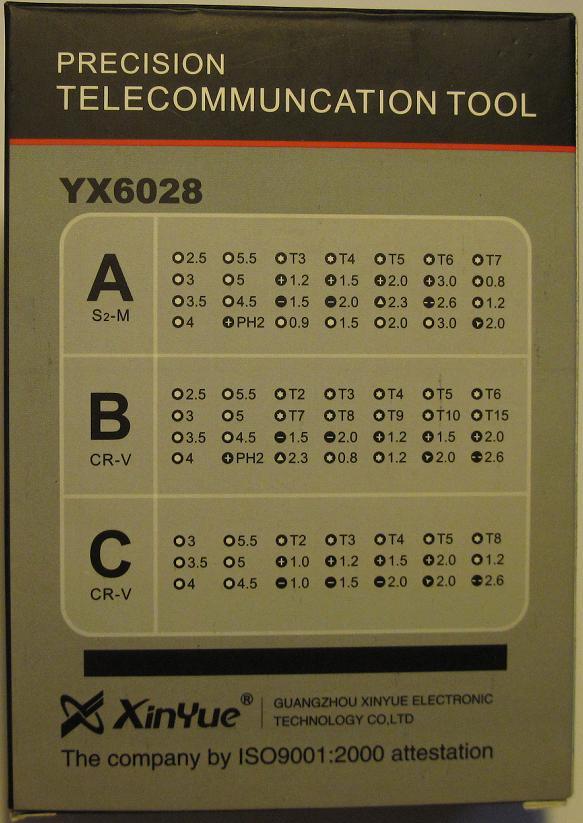 YAXUN YX6028C. Набор высокоточного инструмента для ремонта электронных устройств в подарочном прорезиненном боксе