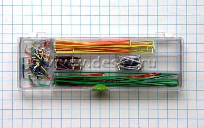Комплект цветных монтажных перемычек BBJ-140 для макетных плат без пайки (беспаечная макетная плата)