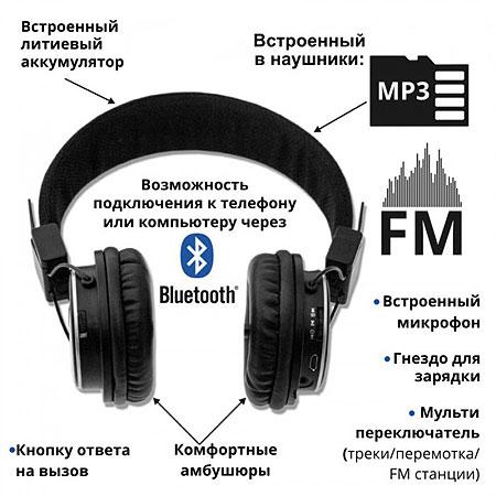 Стереонаушники ATLANFA AT-7611 со встроенным MP3-плеером и FM-радиоприемником        АКЦИЯ!!!