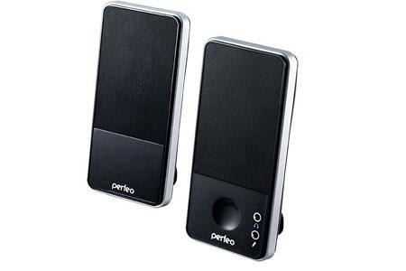 Колонки PERFEO 050 2.0, мощность 2х2.5 Вт (RMS), чёрные / серебро, USB (PF-050-SV)