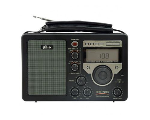 Радиоприемник RITMIX RPR-7050 (FM/MW/SW, часы, будильник, автовыключение, фонарь, 4*D)        Новинка!