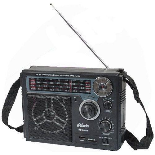 Радиоприемник RITMIX RPR-888 Black (FM / MV / SW1 / SW2, USB / SD, функция записи, встроенный аккумулятор)