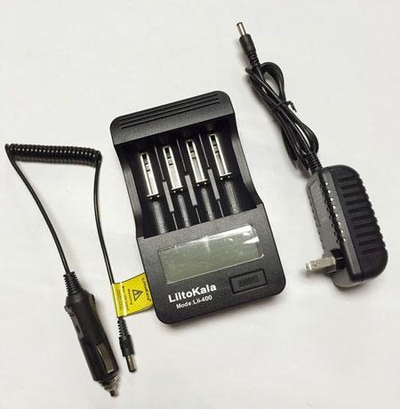 Зарядное устройство Liitokala Lii-400 ток заряда 0.3A / 1A, power bank 4 слота, ЖК дисплей, для  3.7 В / 1.2 В AA / AAA / C / 14500 / 14650 / 16340 / 17500 / 17670 / 18350 / 18500 / 18650 / 22650 / 25500 / 26650