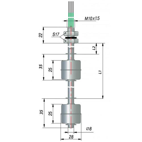 Поплавковый герконовый датчик уровня жидкости (300 мм)