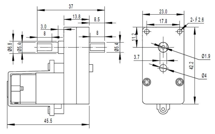 RBT008. TGP02D-A130. Мотор-редуктор привода колеса. Угловой (двухсторонний вал). ЧЕРТЁЖ
