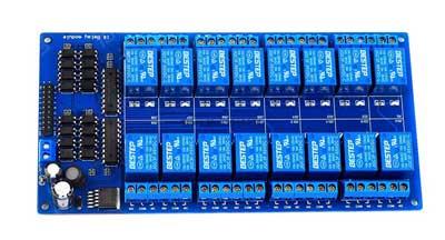 Модуль RA093. Модуль реле на 16 каналов с оптронами и питанием 12V.