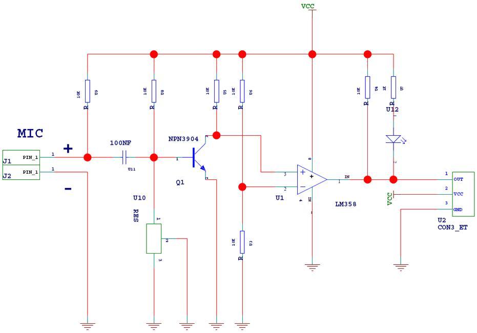 Схема датчика звука MP546