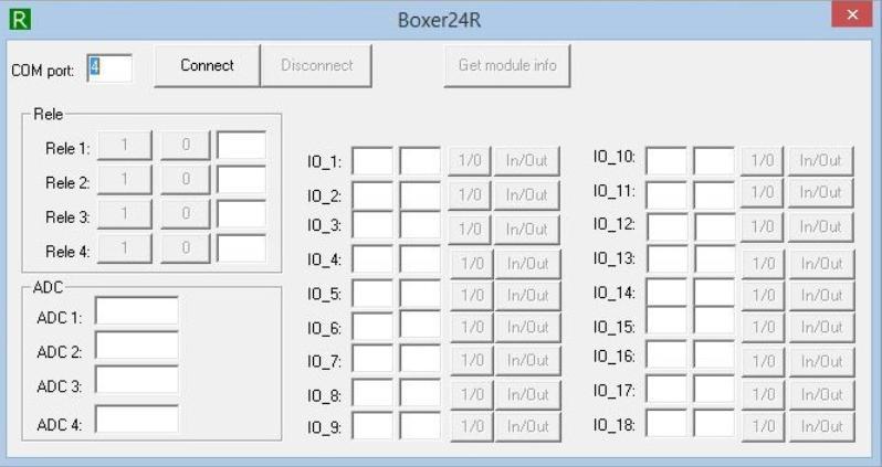 Интерфейс программы Boxer24R для модуля MP714