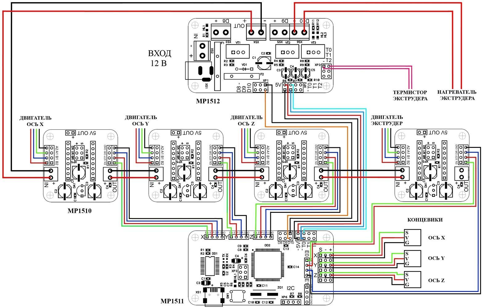 схема подключения шагового двигателя цвета проводов