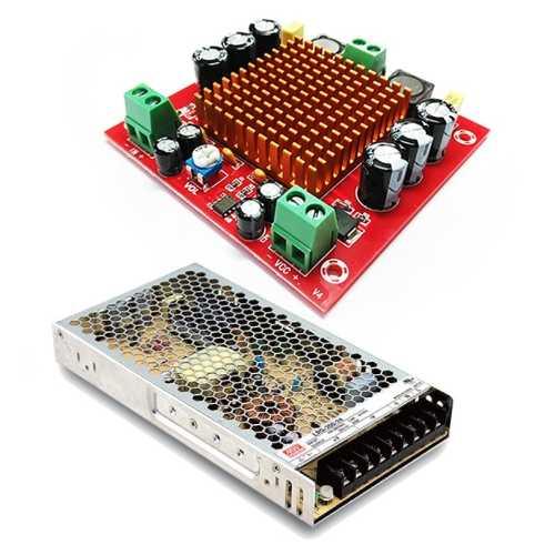 MP3116btl + LRS-200-24 Усилитель НЧ D-класс 1х150Вт + источник питания 24В / 200Вт / 8,8A