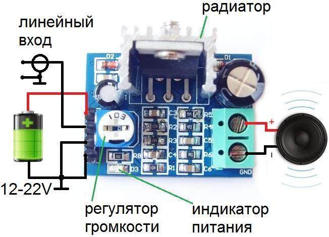 Схема подключения усилителя BM2037M