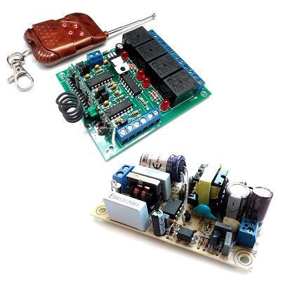 Комплект 4-х канального ДУ 433 МГц + источник питания