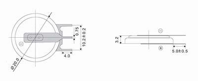 Литиевый элемент для установки в плату CR2032-PEN3