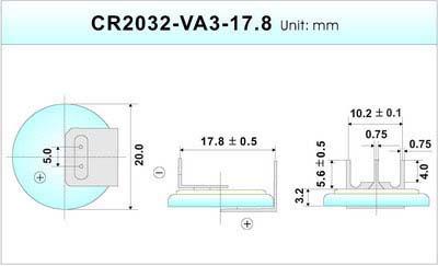 Литиевый элемент для установки в плату CR2032-VAY3-17.8