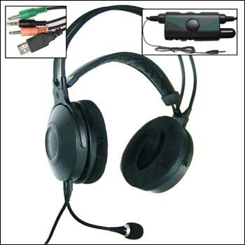 Наушники с сабвуфером, встроенным 6-канальным УНЧ и микрофоном. 4 x jack 3.5 MA896MVIB