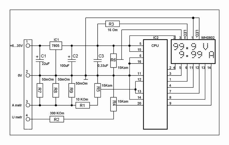 EK-7208PW-Module.  Схема электрическая принципиальная.  Внимание.  При подключении соблюдайте полярность!