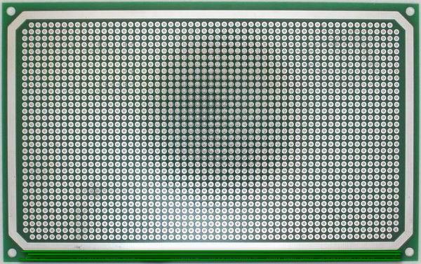 Двусторонняя макетная плата EK-DMP3 с металлизацией отверстий, стеклотекстолит 1.5 мм., шаг отверстий = 2,54 мм. Размер платы = 160х100 мм. Сторона 1 и Сторона 2 однаковы