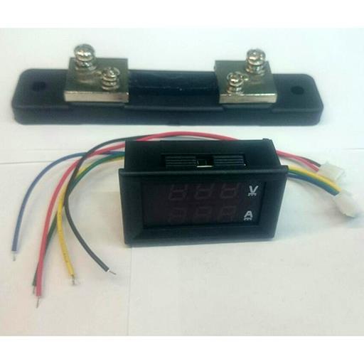 Модуль RI0101. Ампервольтметр DC 0...100 В (50 А) + шунт. СИНЕ-КРАСНЫЙ