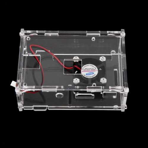 Прозрачный акриловый чехол + вентилятор охлаждения для Raspberry Pi Model B+ 512MB
