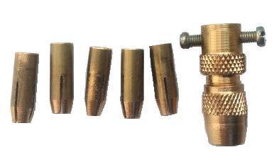 Патрон цанговый на вал диаметром 4 мм со сменными цангами для свёрл от  0,3 мм до 3,5 мм