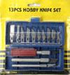 Комплект резаков по картону, резине. 13 различных профилей. Три ручки.