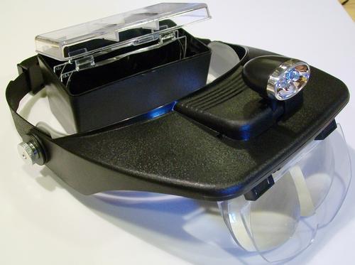 Бинокулярные монтажные очки MG81001-A с дополнительными линзами. Фонарик на козырьке. Кратность увеличения: 1,2-- 1,8 - 2,5 --3,5