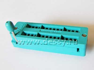 Панелька под микросхемы в корпусах DIP28 шаг 2.54 мм с нулевым усилием