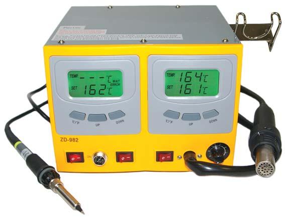 ZD982 (аналог ZD912) станция цифровая паяльная антистатическая LCD дисплей (фен+паяльник) RoHS (для свинцовой и бессвинцовой пайки) 89-8214