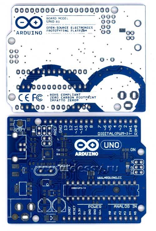 Двусторонняя печатная плата с маской для контроллера ARDUINO UNO