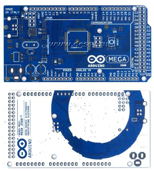 Двусторонняя печатная плата с маской для контроллера ARDUINO MEGA