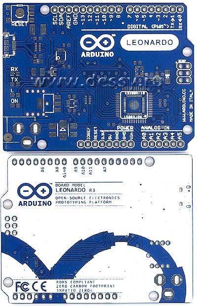 Двусторонняя печатная плата с маской для контроллера ARDUINO LEONARDO