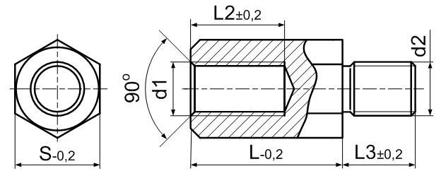 Стойка латунная с наружной и внутренней резьбами М2х0,4. ЧЕРТЁЖ