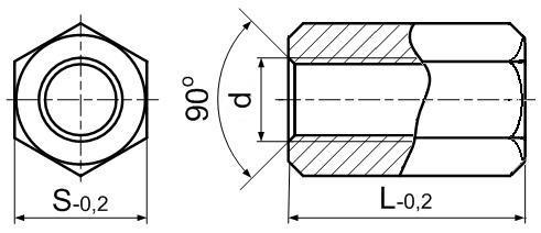 Стойка латунная с внутренней резьбой М5х0,8. ЧЕРТЁЖ