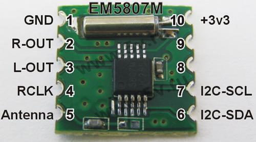 Модуль RF004. Радио модуль стерео приёмника вещательного УКВ FM диапазона 50...115 МГц