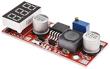 Модуль RP010. Понижающий DC-DC преобразователь напряжения 4,5...28 В в 1,3...25 В (1,5 А ; 15 Вт) со встроенным Вольтметром