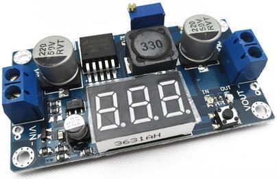 Модуль RP012. Понижающий DC-DC преобразователь напряжения 4...40 В в 1,25...35 В (2 А) на микросхеме LM2596 со встроенным Вольтметром