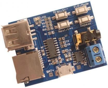 Модуль RS012. Mp3 плеер. USB+microSD до 32 ГБ. Стерео AUX выход + УНЧ на 3 Вт