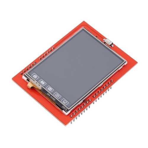 2.4 дюймовый TFT LCD Shield для  Arduino с  гнездом для карты SD с  тачскрином и стилусом к нему. Модуль RC031