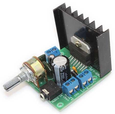 Стерео усилитель НЧ, 2 х 15 Ватт, (TDA7297). Модуль RS017