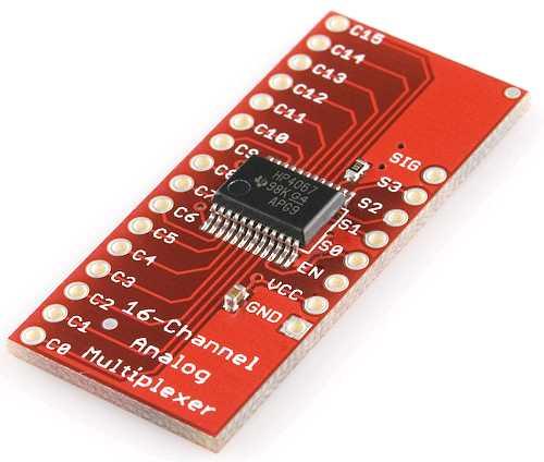 Модуль RC044. Модуль 16 канального аналогового мультиплексора на CD74HC4067